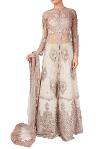 grey-suede-pearl-embellished-lehenga-with-net-jacket-dupatta