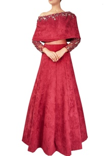maroon-suede-net-off-shoulder-cape-gown