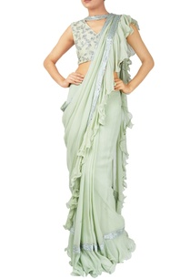 green-georgette-ruffle-layer-saree-with-sleeveless-blouse