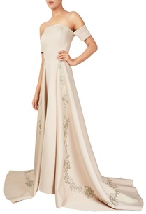 beige-scuba-fabric-off-shoulder-gown-with-long-trail