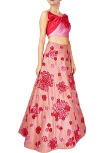 pink-red-raw-silk-rose-motif-lehenga-with-bow-blouse