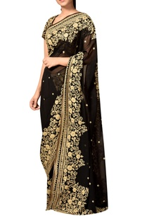 black-viscose-georgette-embroidered-sari-with-blouse