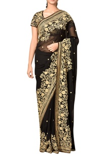 black-viscose-georgette-embroidered-saree-with-blouse