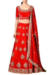 red-viscose-velvet-embroidered-lehenga-with-blouse-dupatta