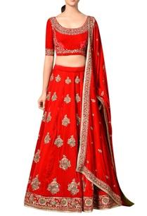 red-viscose-velvet-embroidered-lehenga-with-blouse-dupatta