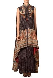 black-rust-rayon-crepe-halter-maxi-dress-with-overcoat