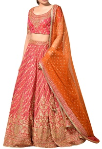 coral-orange-silk-dupion-embroidered-lehenga-with-blouse-dupatta