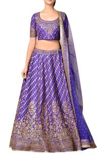 royal-blue-silk-dupion-embroidered-lehenga-with-blouse-dupatta