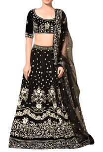 black-viscose-velvet-embroidered-lehenga-with-blouse-dupatta