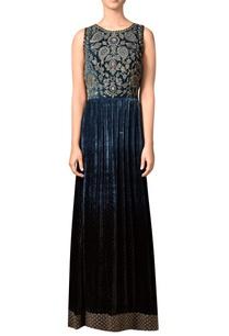 indigo-blue-velvet-silk-gown-with-embroidered-yoke