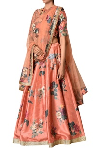 rust-polyester-dupion-embroidered-lehenga-with-blouse-dupatta