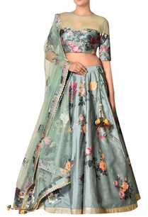 moss-green-polyester-dupion-embroidered-lehenga-with-blouse-dupatta