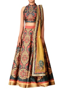 mustard-yellow-polyester-dupion-embroidered-lehenga-with-blouse-dupatta