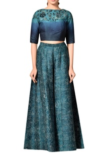 indigo-blue-embroidered-crop-top-with-super-flared-palazzos