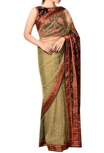 beige-burgandy-nylon-net-embroidered-saree-with-blouse