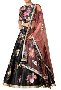 black-polyester-dupion-embroidered-lehenga-with-blouse-dupatta
