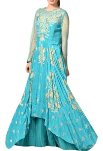 turquoise-blue-flared-rayon-crepe-gown