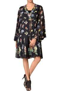 black-floral-printed-drop-waist-short-dress