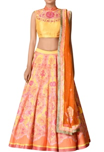 yellow-orange-poly-dupion-jacquard-embroidered-lehenga-with-blouse-dupatta