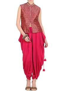 hot-pink-brocade-embroidered-short-jacket-with-dhoti-pants