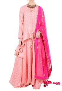 rose-pink-foil-printed-asymmetric-kurta-with-lehenga-dupatta