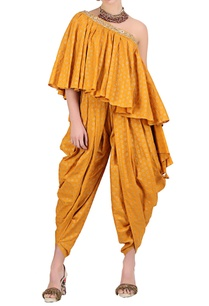 ochre-yellow-cotton-one-shoulder-blouse-with-cowl-dhoti
