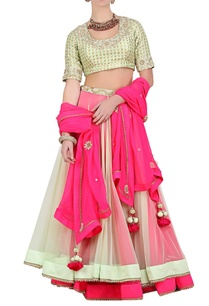 pista-green-pink-double-layered-net-lehenga-set