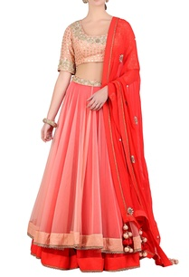 salmon-pink-red-double-layered-net-lehenga-set