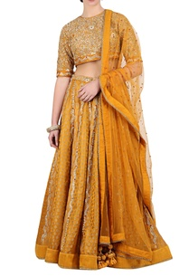 ochre-brocade-embroidered-lehenga-with-jaal-embroidered-blouse-dupatta