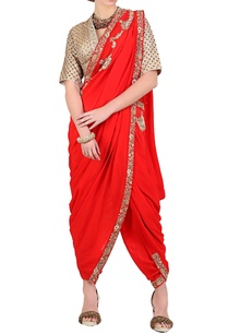 red-embroidered-dhoti-saree-with-gold-blouse