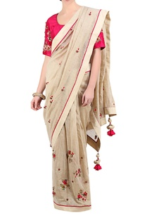 ivory-chanderi-sari-with-hot-pink-embroidered-blouse