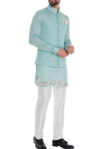 blue-satin-coton-embroidered-kurta-with-blue-silk-bundi-jodhpuri-pants-white-pocket-square
