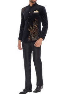 navy-blue-velvet-bird-embroidered-bandhgala-with-trousers-pocket-square