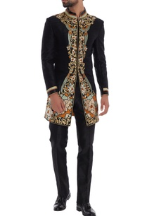 black-silk-bird-motif-sherwani-with-slim-fit-trousers
