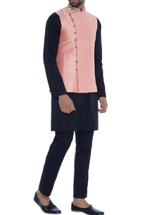 peach-raw-silk-wrap-style-nehru-jacket
