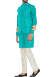 turquoise-suede-kurta-with-built-in-waistcoat