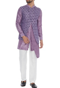 purple-raw-silk-kurta-with-attached-waistcoat