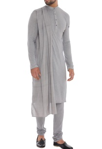 grey-hand-woven-organic-cotton-bamboo-fabric-draped-kurta