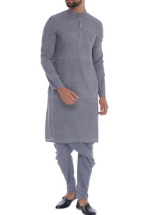 grey-check-organic-cotton-bamboo-fabric-kurta
