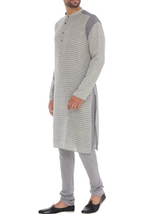 grey-striped-organic-cotton-bamboo-fabric-monotone-kurta