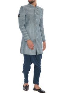 grey-pinstripe-organic-cotton-bamboo-fabric-sherwani-jacket