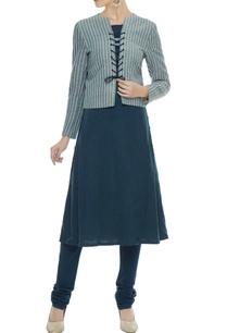grey-pinstripe-organic-cotton-bamboo-fiber-lace-up-jacket