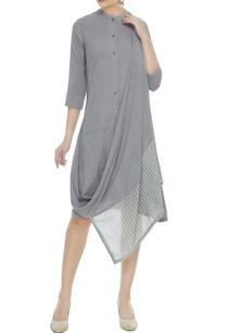 grey-handwoven-organic-cotton-bamboo-fiber-draped-dress