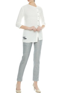 grey-white-pinstripe-single-button-closure-pants