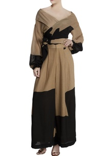 black-repier-cotton-color-blocked-wrap-blouse-with-palazzos