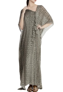grey-chiffon-abstract-printed-pleated-kaftan