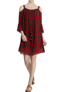 red-cotton-silk-tear-drop-print-cold-shoulder-dress