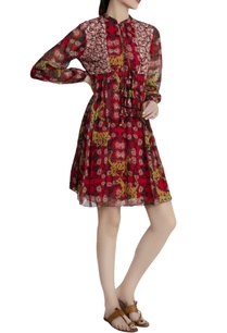 red-georgette-tiger-lily-printed-dress