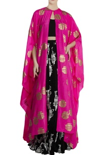 pink-black-silk-crepe-tribal-vase-print-cape-with-skirt-blouse