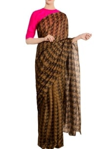 beige-island-breeze-saree-with-pink-blouse-piece